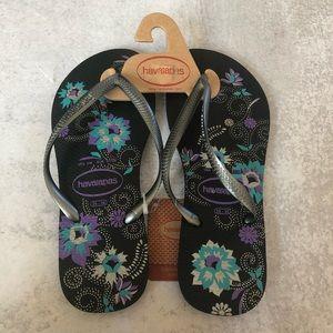 Havaianas   Black Purple Blue Silver Floral Sandal